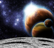 View of the Universe from the moon's surface. Abstract illustrat