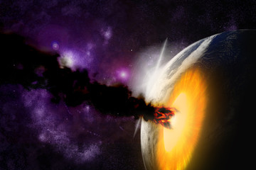 Attack of the asteroid on the planet in the universe. Abstract i