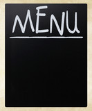 Blank blackboard with white chalk smudges used a restaurant menu poster