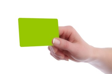 Karte Kreditkartenformat in Hand