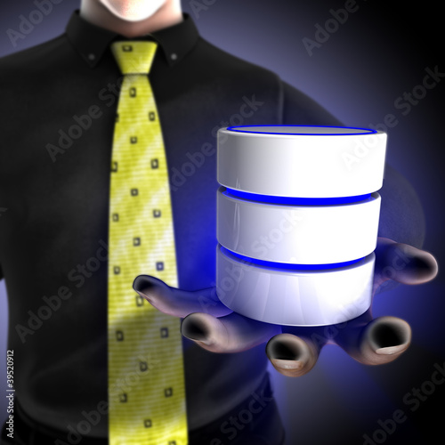 Businessman providing a database service