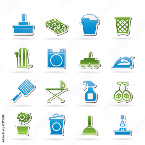 Household objects and tools icons - vector icon set