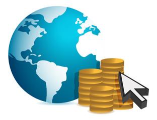 Global finance concept illustration design over white background