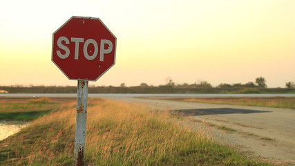Stop sign at an airfield