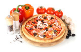 Aromatic pizza with vegetables and mushrooms isolated on white