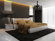 Chic luxury hotel gold, black, bedroom, chandelier perspective