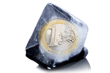 Euro currency frozen into ice cube