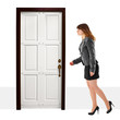 A young woman walks into door