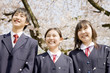 桜の下で笑っている3人の中学生