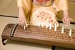琴を弾く女性の手元
