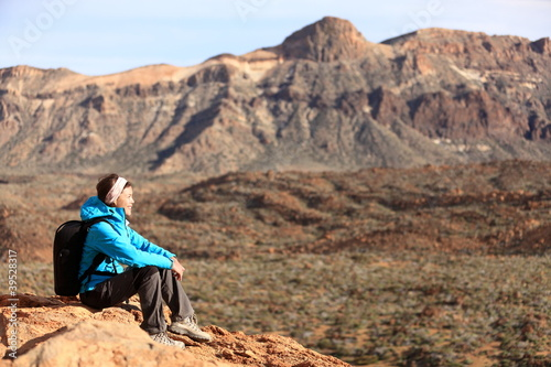 Hiking - woman hiker enjoying view