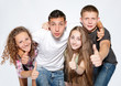 Happy young people on white background