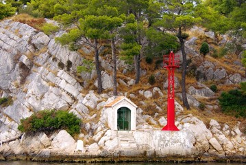 a red buoy at the entrance of the Krka river in Croatia