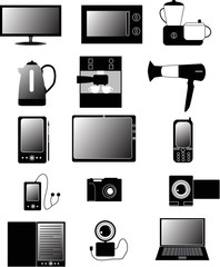 set of isolated electronic devices icons