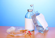 Bottle and bag of intravenous antibiotics and plastic infusion