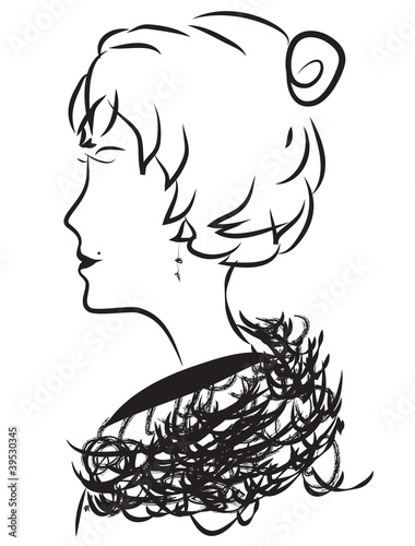 lady art painting vector outline wall tattoo