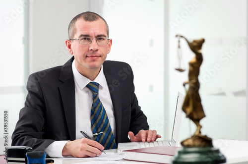 Lawyer on his workplace