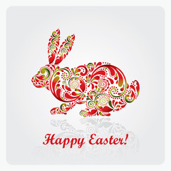 Easter rabbit made of leaf pattern. Vector illustration eps.10.