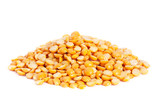 Pile split yellow peas isolated on white background.