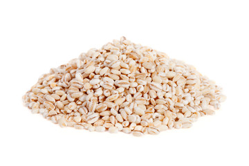 Pile Pearl barley (pearled barley) isolated on white background.