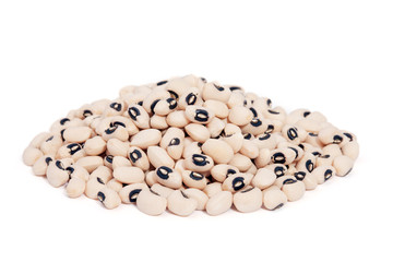 Pile Black Eyed Peas isolated on white background.