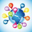 Globe, pins, social media icons