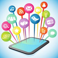 Tablet, social media icons 2