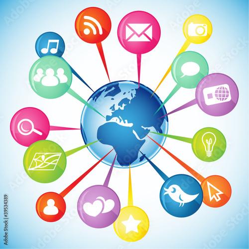 Globe, pins, social media icons 2