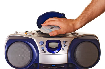 Inserting a disk into CD player