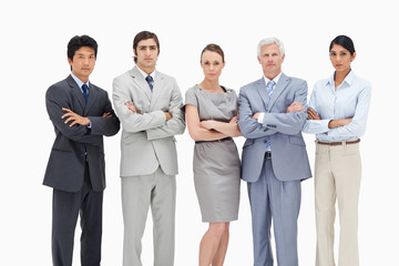 Close-up of a multicultural business team