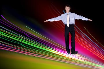 Businessman walking over Internet lines