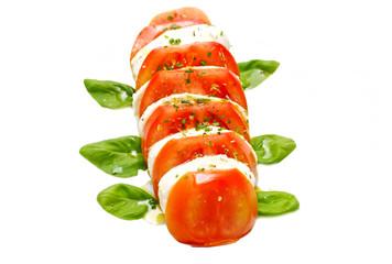 tomate, mozzarela e basílico