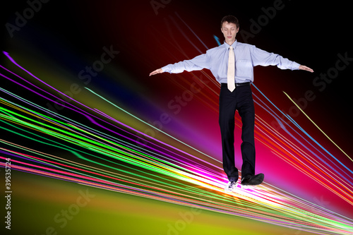 Businessman walking over Internet lines