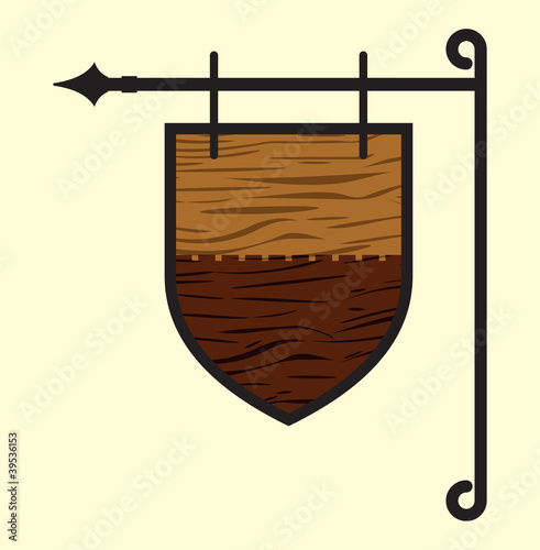 Wooden blank door sign