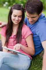 Young attractive couple sitting in a park while looking at a tablet pc