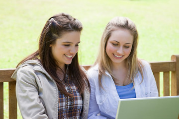 Young smiling friends sitting on a bench while looking at a laptop