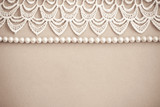 Fototapety Lace and pearls vintage background