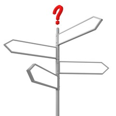 crossroad question road sign with blank direction arrows