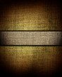 grunge dark yellow fabric with brown bar as vintage background
