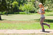 Side view of a female jogger