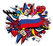 Russian Revolution graffiti tag flag Russia illustration pop art