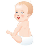 Baby in diapers smiling, isolated , vector