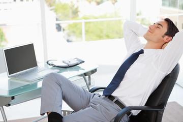 Businessman happy at work