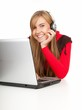 smiling young woman with laptop, white background