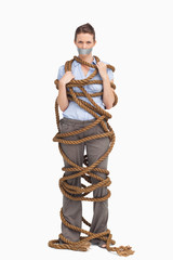 Businesswoman entangled