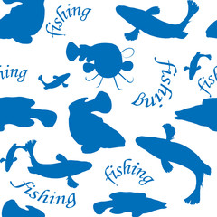 vector background of fishing
