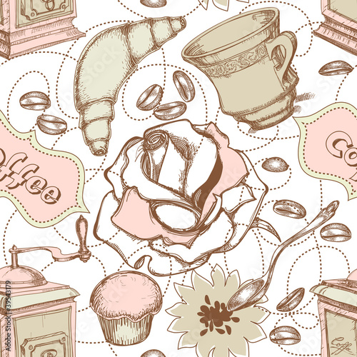 Coffee and cakes seamless pattern