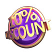 3d rendered, shiny gold purple discount button