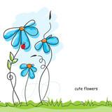 Cute flowers and ladybug