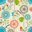 Retro garden seamless pattern, flowers and birds
